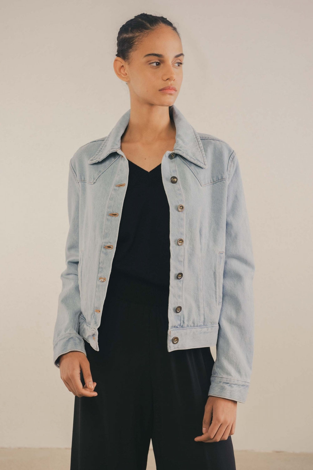 DENIM BLEACH JACKET