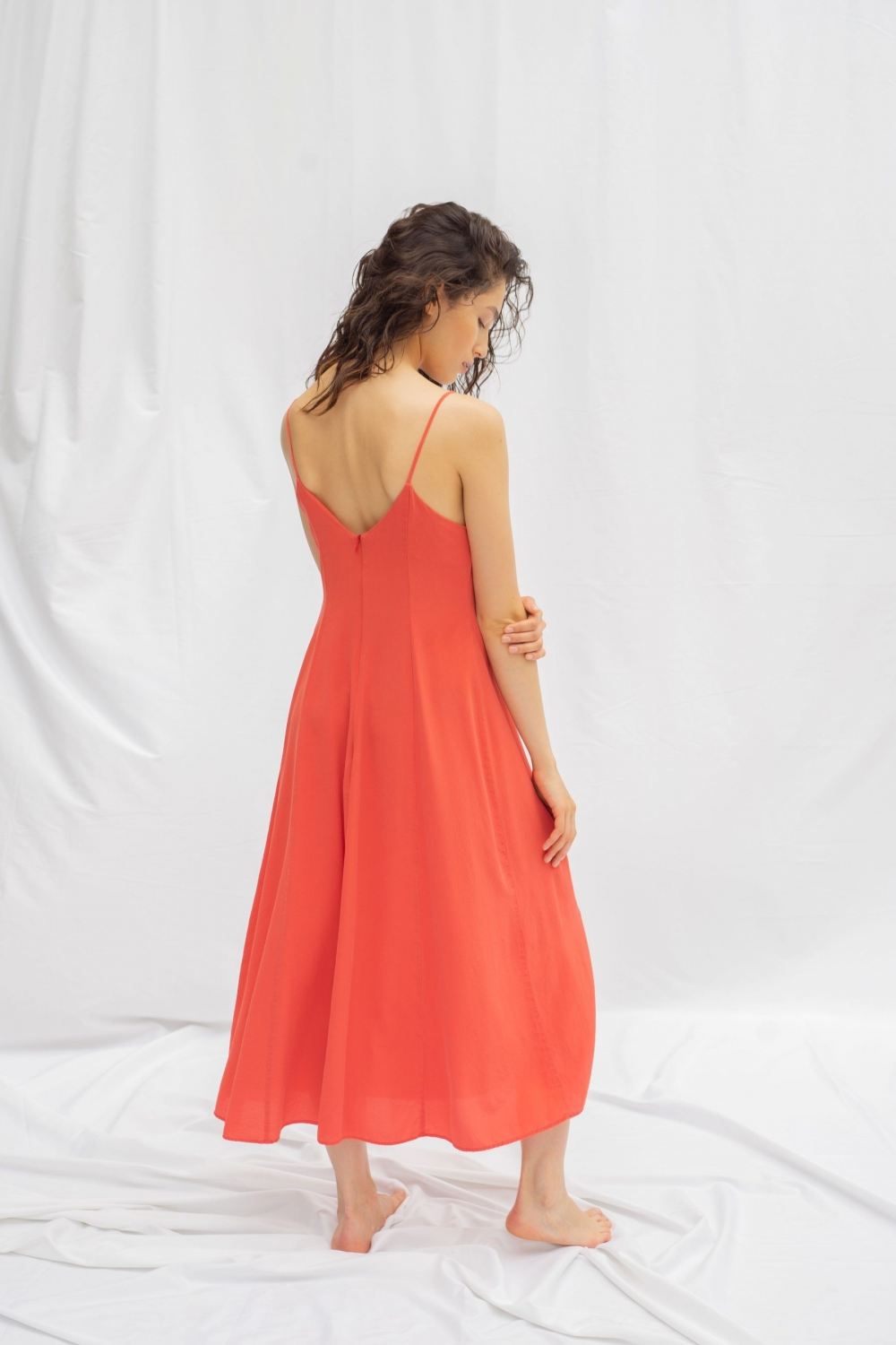 ISABELLA DRESS IN CORAL RED