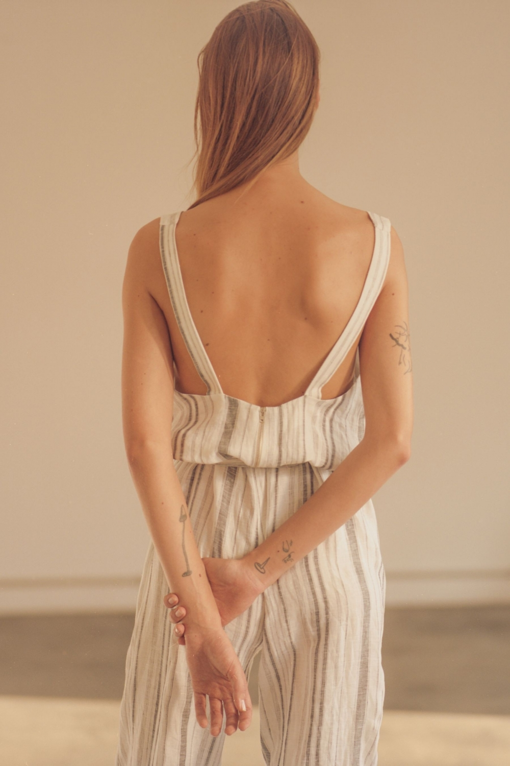 LINEN JUMPSUIT WITH STRIPES