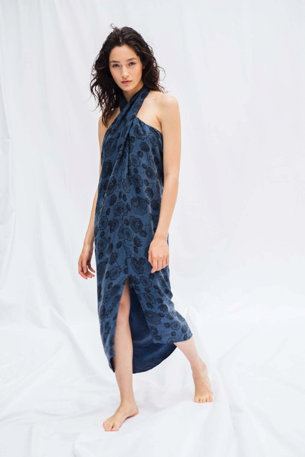 JACQUARD CROSSOVER DRESS IN...