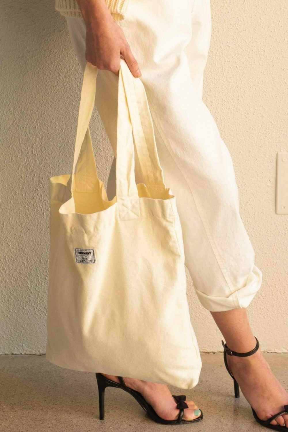 SHOPPER BAG IN ECRU DENIM
