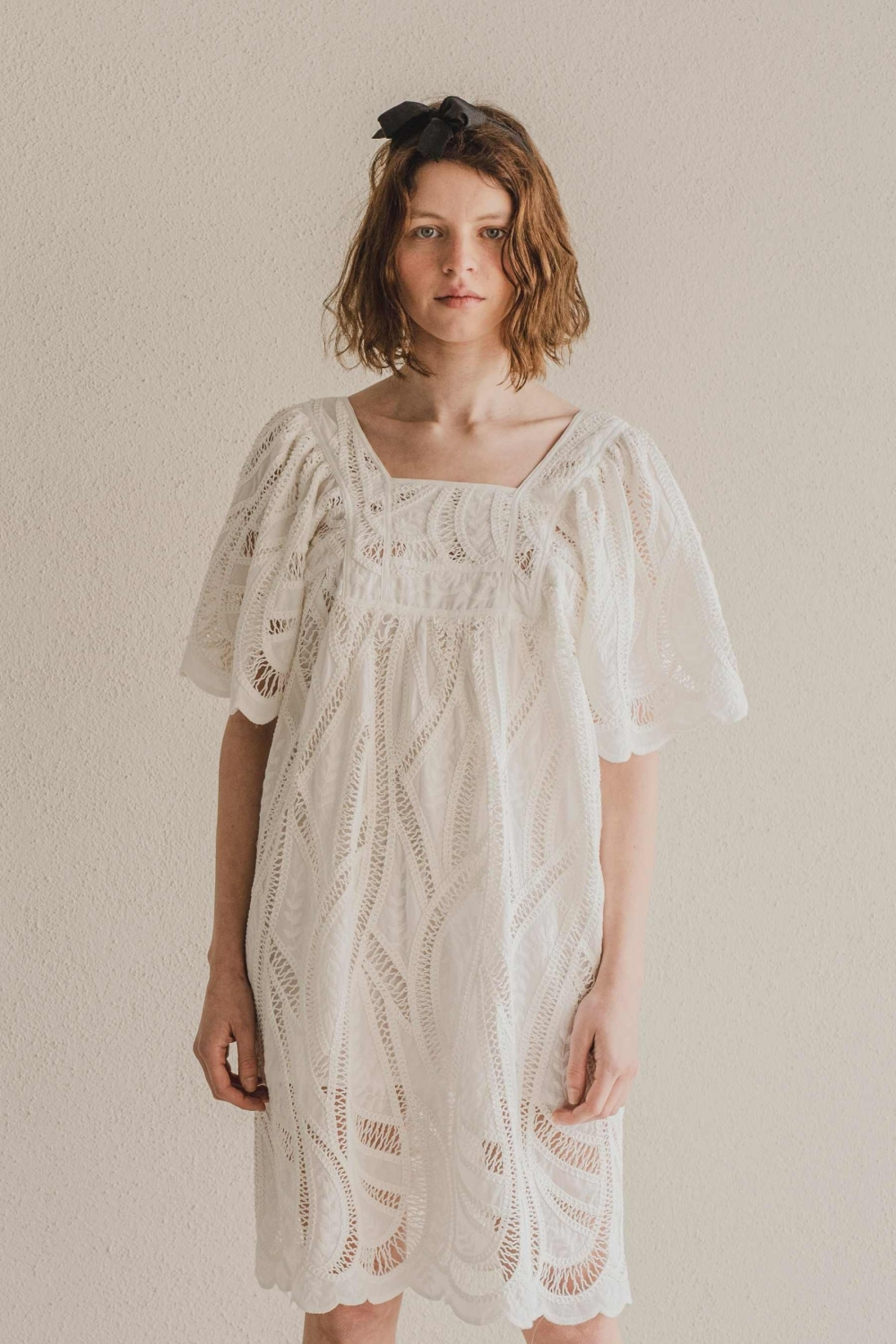 GRACE DRESS IN WHITE GUIPURE