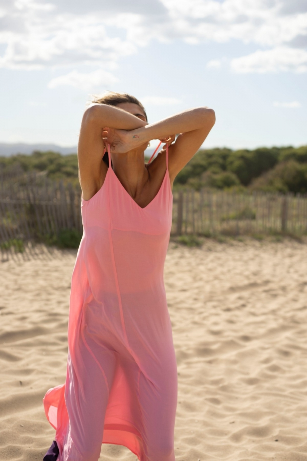 LUCY LONG DRESS IN PEACH PINK