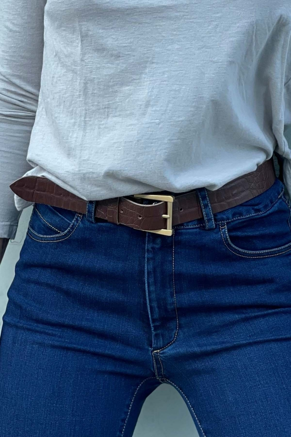 CROCO LEATHER BELT IN...